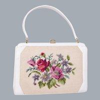 Vintage 1960s White Vinyl Handbag Floral Needlepoint Insert