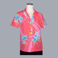 Vintage 1970s Hilo Hattie's Coral Pink Floral Print Ladies Blouse/Shirt Made in Hawaii