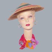 Vintage 1940s Straw Beach Hat Sunhat Asian Inspired