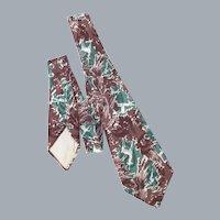 Vintage 1940s Silk Necktie Tie Abstract Woodland Deer Print