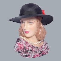 Vintage 1970s Black Straw Hat Made in England by Marida