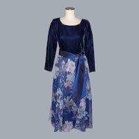 Vintage 1980s Lanz RSVP Dress Floral Chiffon and Navy Blue Velvet
