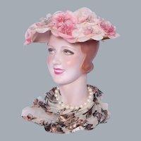 Vintage 1950s Pink Floral Hat Made By Modern Miss