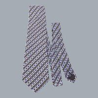 Yves Saint Laurent YSL Silk Necktie Tie Diamond Pattern Print Made in Italy
