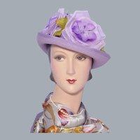 1990s Lavender Breton Hat Stunning Flowers