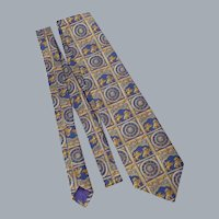 Liberty Silk Necktie Tie St. George Slaying the Dragon and Clock Made in England