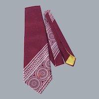 Vintage 1970s Shevel's by Schiaparelli Burgundy Polyester Necktie Tie