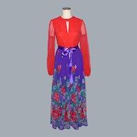 Vintage 1970s Rona New York Floral Maxi Skirt Garden Party Dress Saks Fifth Avenue