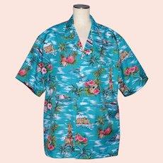 Evergreen Island Hawaiian Aloha Shirt Scenic Hawaii Print Size XL 1980s
