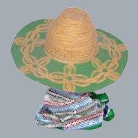 Vintage 1940s Straw Garden Hat Painted Design