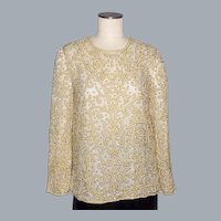 Stunning Neiman Marcus Silk Blouse/Top Faux Pearls and Golden Glass Beads