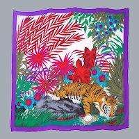 Gant Gaither Large Silk Colorful Silk Scarf Tiger/Jungle Print for Baar & Beards 1980s