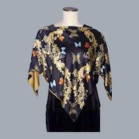 Julie Brown Black Silk Poncho/Blouse/Top Butterflies and Scroll Print