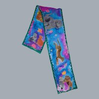 Hand Painted Cat Print Silk Scarf French Silk Dyes One of a Kind