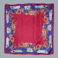 Delta Queen Steamboat and Mississippi Queen Silk Scarf 1990s