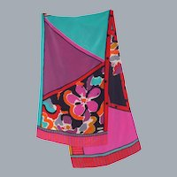 Liberty Colorful Abstract Floral Print Silk  Scarf 1990s