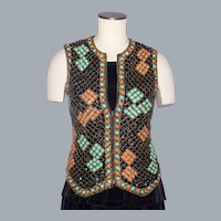 Vintage 1960s Valentina Black Wool Vest/Top Heavily Beaded and Sequined