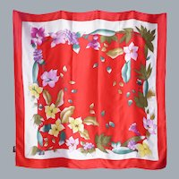 Large Silk Scarf/Wrap Red Floral Print Made by Ixu Niang Silk Deadstock