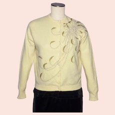 Vintage 1960s Beaded Wool Cardigan Sweater Large Floral Spray Golden Beads Faux Pearls
