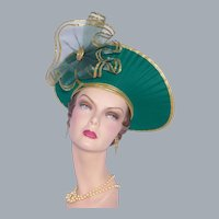 Jody G. for Sylvia of St. Louis Large Halo Church Hat Green Wool Golden Trim