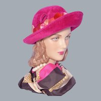 Vintage 1960s Breton Hat Deep Pink Wool Fur Felt Velvet Leaves