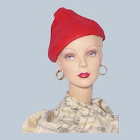 Vintage 1940s Gage Red Straw Pixie Style Hat