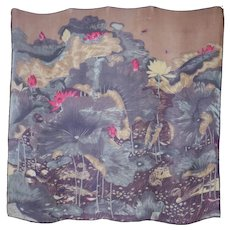 Water Lily Pond Print Sheer Scenic Large Silk Scarf