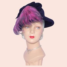 Vintage 1960s Navy Blue Wool Velour Hat Unique Pink Feather Detail