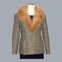 Vintage 1970s Joan Leslie by Kasper Ladies Suit Jacket Fox Fur Collar