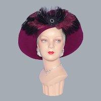Burgundy Wool Felt and Feather Church Hat by Deborah New York 1990s