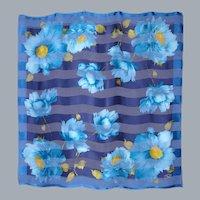 Oscar de la Renta Silk Scarf Large Spectacular Turquoise Floral Print