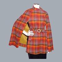 Vintage 1960s Jerold Plaid Wool Cape/Coat