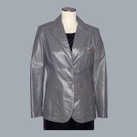 Vintage 1970s-1980s Etienne Aigner Gray Leather Ladies Blazer/Jacket