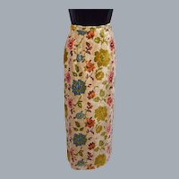 Vintage 1960s Nelly de Grab Maxi Skirt Cut Velvet Tapestry Floral Material