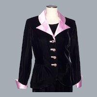 Vintage 1980s Victor Costa For Nahdree Black Velvet Suit Jacket Pink Satin Trim