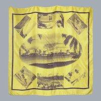 Vintage 1960s Miami By Moonlight Silk Scarf Souvenir of Florida