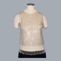 Vintage 1960s Sequin and Faux Pearl Sparkling Knit Shell Top