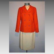 "Vintage 1960s  ""It's Magestic"" 3 Pc. Orange and Off White Linen Suit"