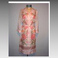 Vintage 1970s Shaheen Pink Floral Dress
