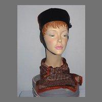 Vintage 1960s Adolfo II Black Velvet Pillbox Hat