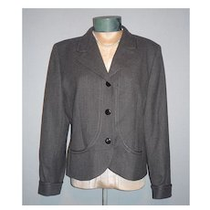 Vintage 1980s Valentino Classic Style Short Gray Wool Jacket