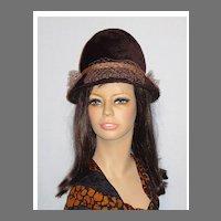 Vintage 1960s Mr John Jr Brown Fur Felt Cloche Style Hat