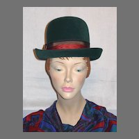 Vintage 1960s Jean Arlett Creations Deep Green Derby Style Hat