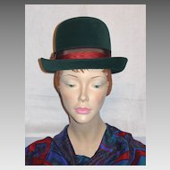 Vintage 1960s Jean Arlett Creations Deep Green Derby Style Hat