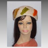 Vintage 1960s Fur Felt Dish Hat With Curled Feathers