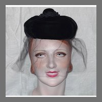 Vintage 1960s  Mr John Velvet Demi-Chapeau Hat