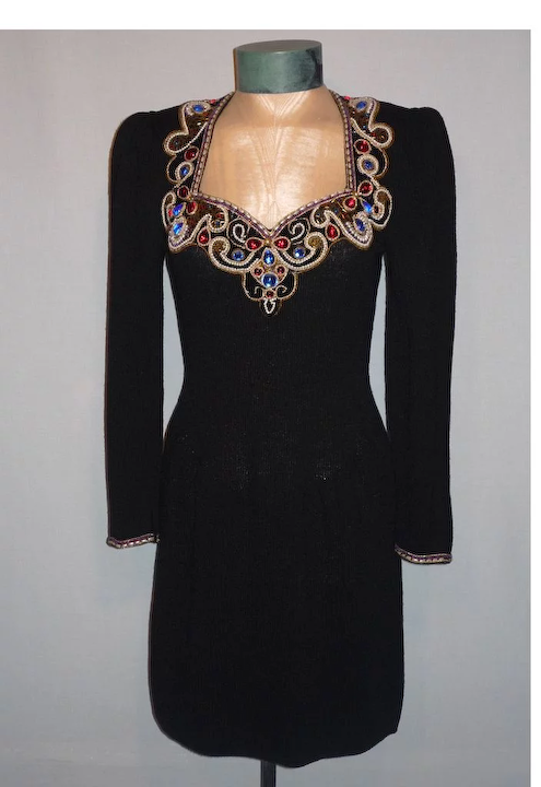 Vintage 1970\u2019s Red Lillie Rubin Chiffon Dress with Puffed Shoulders and Balloon Sleeves Faux Wrap Dress Sz Sm