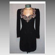 Vintage 1970s Lillie Rubin Black Knit Dress With Spectacular Beaded Neckline