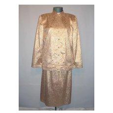 Vintage 1980s  Adele Simpson Glittering Gold 3pc Evening Suit Ensemble