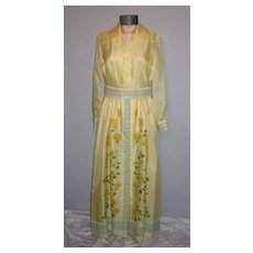 Vintage 1970s Shaheen Yellow Floral Evening Maxi Dress